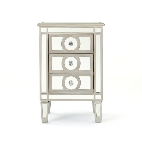 Christopher Night Home Maeve 3 Drawer Mirrored Cabinet Silver - Christopher Knight Home - image 1 of 4