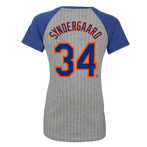 new concept 8d1e3 80311 New York Mets Girls' Short Sleeve Pinstriped V-Neck Noah Syndergaard Jersey  T-Shirt - Gray XS