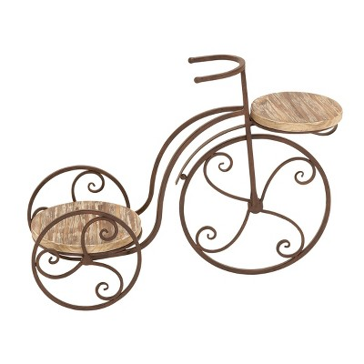 Metal and Wood Novelty Bicycle Plant Stand with Wooden Platforms Brown - Olivia & May