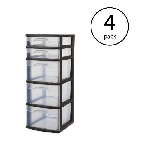 Sterilite 5 Drawer Tower Plastic E Saving Home Storage Organizer 4 Pack Target