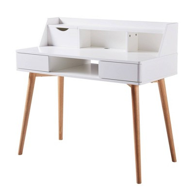 Creativo Stylish Desk with Solid Wood Leg - Versanora
