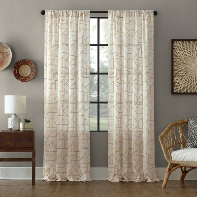 Jigsaw Embroidery Linen Blend Light Filtering Curtain - Archaeo