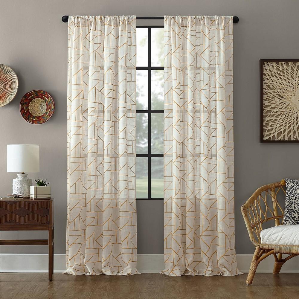 84x50 Jigsaw Embroidery Linen Blend Light Filtering Curtain Gold/Linen - Archaeo Promos