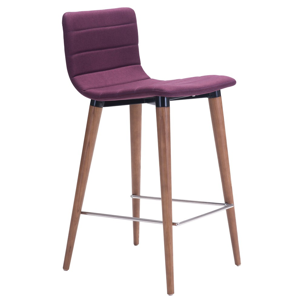 26 Mid-Century Modern Fabric Counter Chair - Purple (Set of 2) - ZM Home