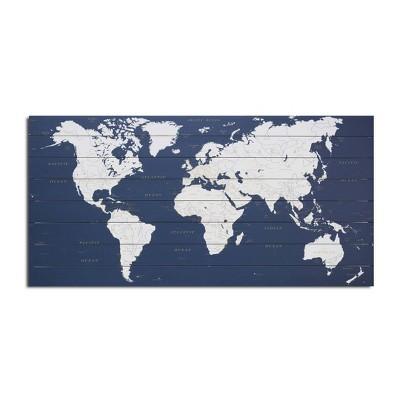 "25"" x 50"" World Map Dark Print on Planked Wood Wall Sign Panel Dark Blue - Gallery 57"