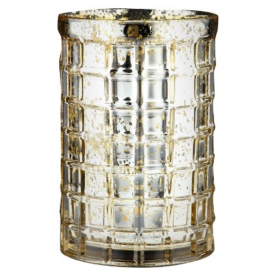 7.5 x5  Gold Glass Vase - Diamond Star