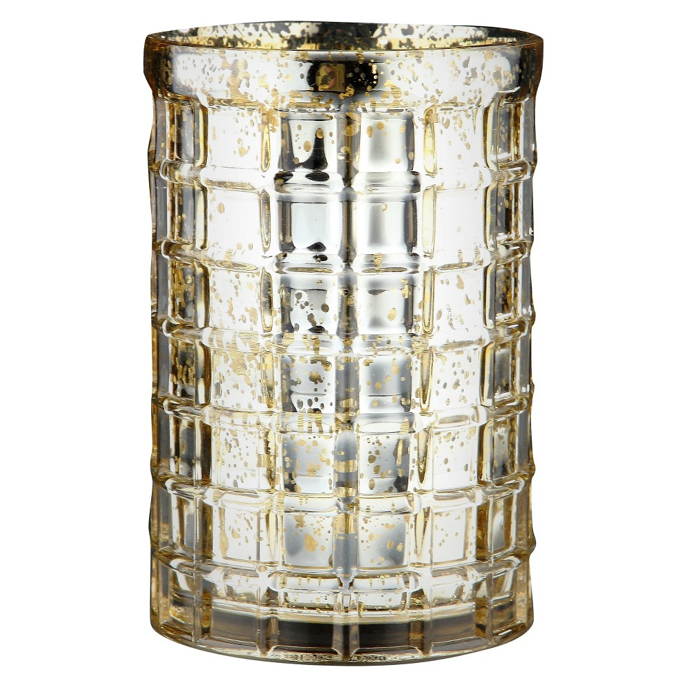 "Image of ""7.5""""x5"""" Gold Glass Vase - Diamond Star, Clear"""
