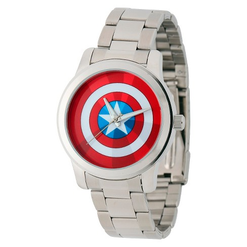 Men's Marvel Captain America Casual Alloy Watch - Silver - image 1 of 2