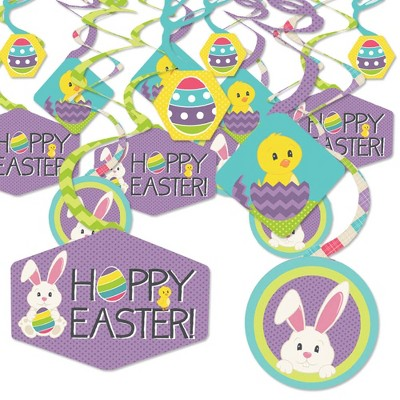 Big Dot of Happiness Hippity Hoppity - Easter Bunny Party Hanging Decor - Party Decoration Swirls - Set of 40