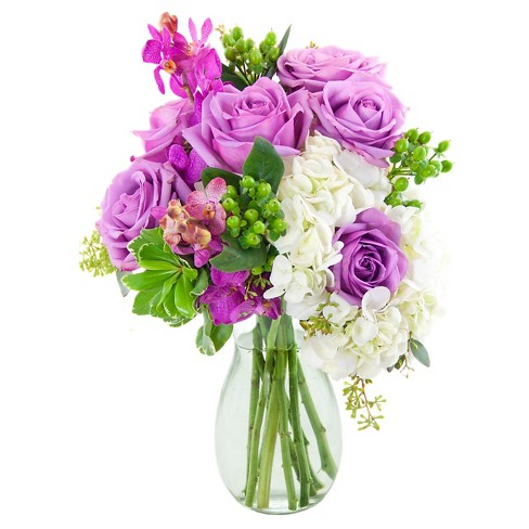 KaBloom Swan Lake Roses and Hydrangea Fresh Flower Arrangement - with Vase - image 1 of 1