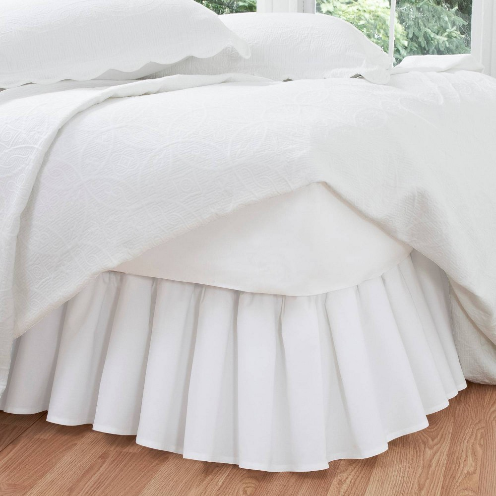 """Image of """"White Ruffled 14"""""""" Bed Skirt (Twin)"""""""