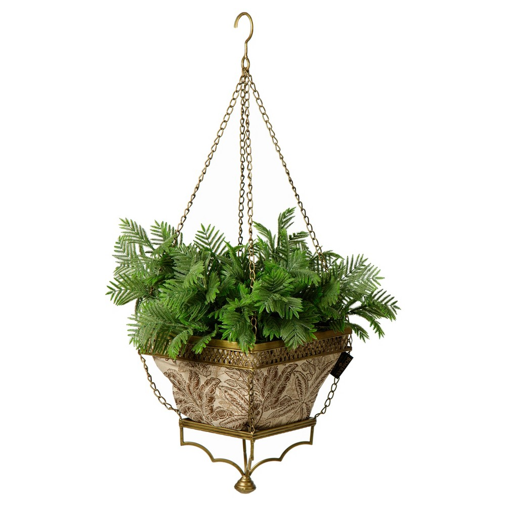 Chloe Hanging Fabric Planter With Palmetto Mocha Liner - Gold - Bombay Outdoors