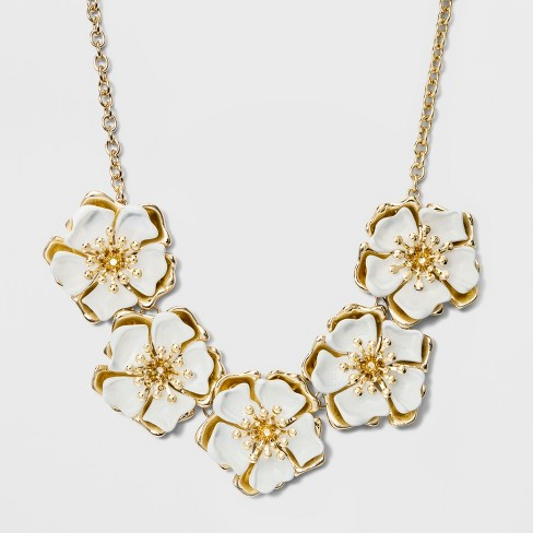 Sugarfix By Baublebar Two Tone Flower Statement Necklace White