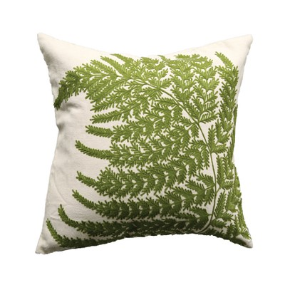 Fern Embroidered Throw Pillow - 3R Studios