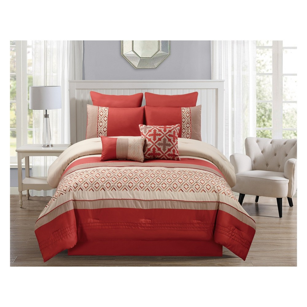 Image of 8pc King Janna Comforter Set Orange - Riverbrook Home