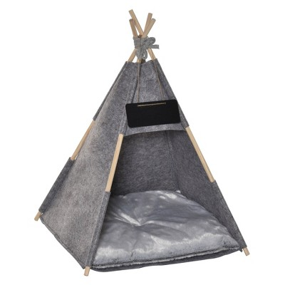 PawHut Pet Teepee Tent Cat Bed Dog House with Thick Cushion Chalkboard for Kitten and Puppy 32inch/80cm Grey