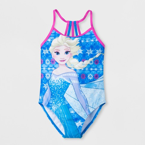 Girls' Frozen One Piece Swimsuit - Blue - image 1 of 2