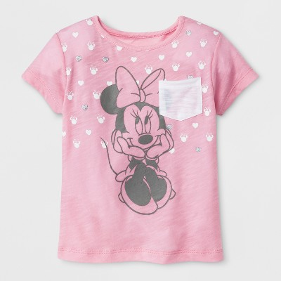 Toddler Girls' Disney Mickey Mouse & Friends Minnie Mouse Short Sleeve T-Shirt - Light Pink 12M