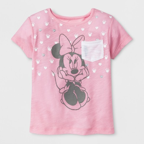 Toddler Girls' Disney Mickey Mouse & Friends Minnie Mouse Short Sleeve T-Shirt - Light Pink - image 1 of 2