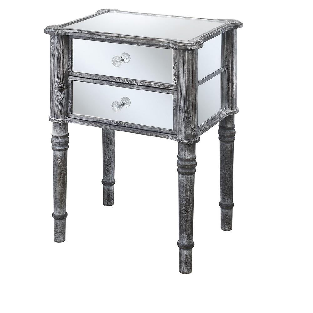 Gold Coast Mayfair End Table - Weathered Gray / Mirror - Johar Furniture