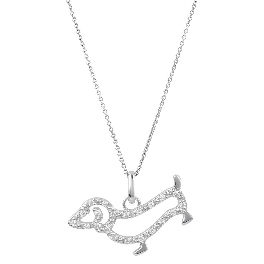 1/5 CT. T.W. Round-Cut Cubic Zirconia Pave Set Dog Necklace in Sterling Silver - Silver, Girl's