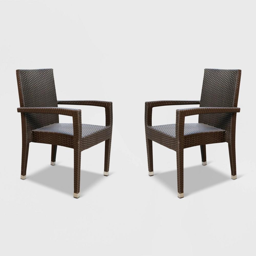 Hacienda Outdoor Wicker Dining Chair (Set of 2) - Espresso - Abbyson Living, Brown