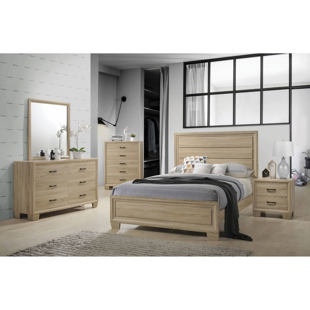 Queen Warner Bed White Washed Oak - Private Reserve