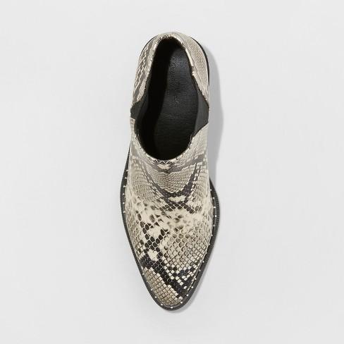 4b3a208573c Women s Luna Faux Leather Snake Skin Wide Width Studded Welt Western Bootie  - Universal Thread™ Gray 7W   Target