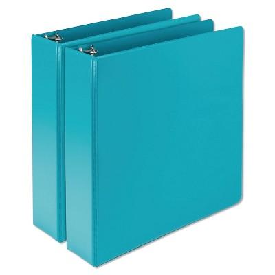 """2pk 450 Sheet 2"""" Round Ring Binder Turquoise - Samsill"""
