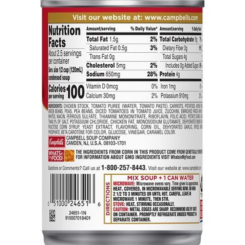 Campbells Soup Nutrition Label