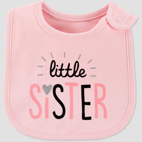 Baby Girls' Family Love 'Little Sister' Bib - Just One You® made by carter's Pink - image 1 of 1