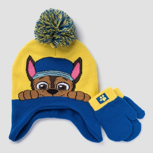 Toddler Boys' PAW Patrol Hat & Mittens Set - Yellow/Blue One Size - image 1 of 1