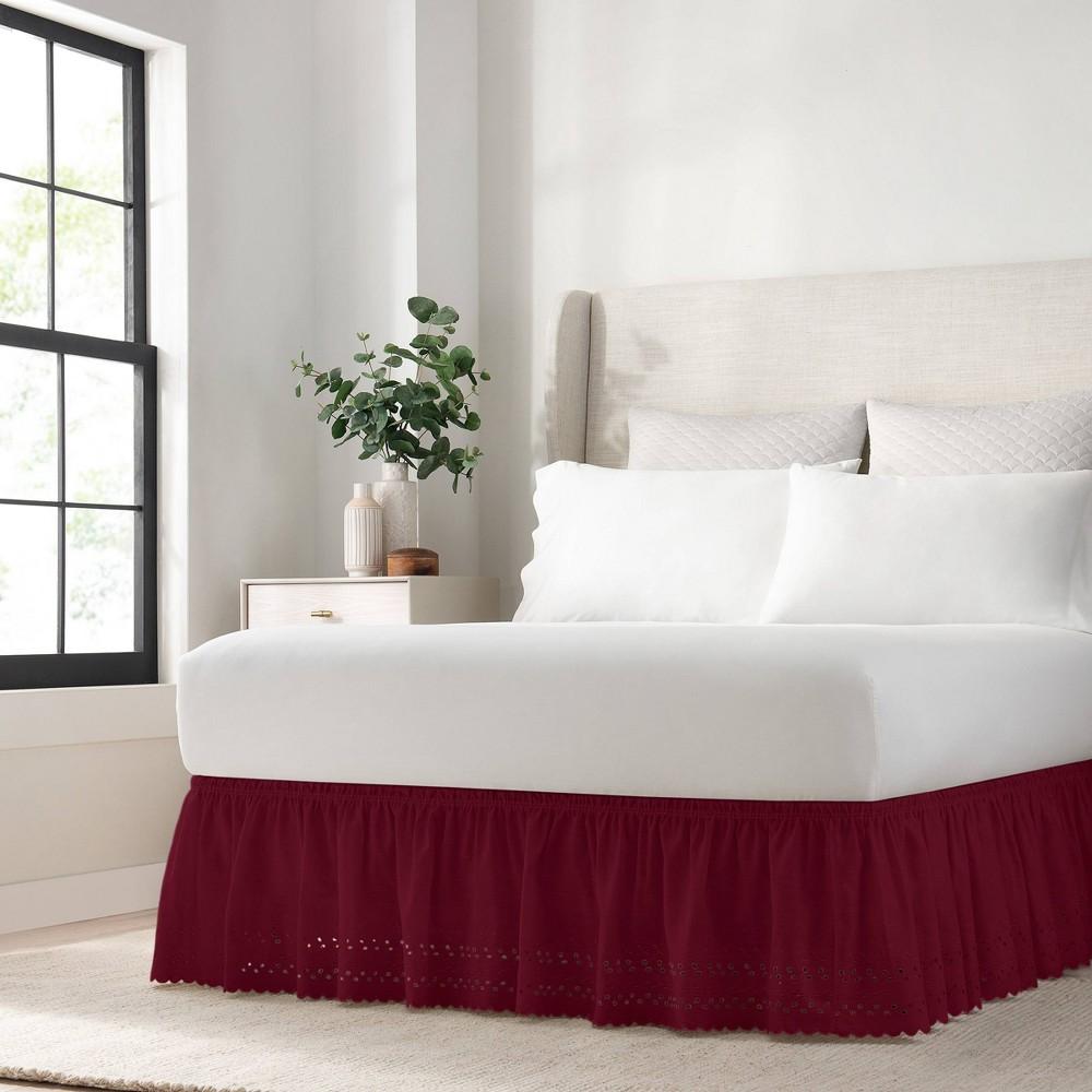 Red Wrap Around Eyelet Ruffled Bed Skirt Twin Full 75 34 X 39 34 Easyfit