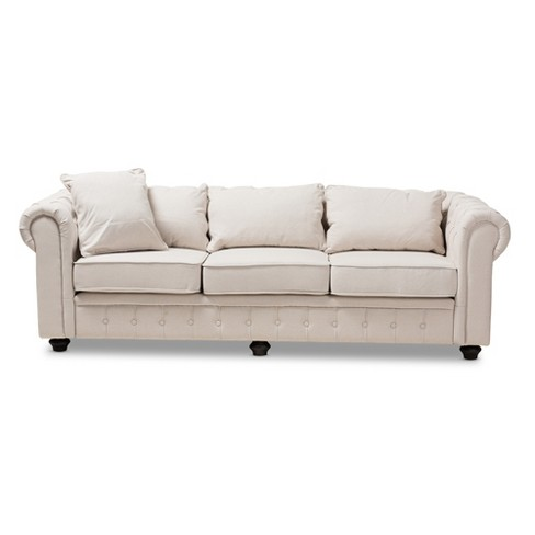 Baxton Studio Alaise Modern Classic Linen Tufted Scroll Arm