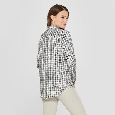 d2468cfc Women's Long Sleeve Plaid Shirt - Universal Thread™ Gray Plaid : Target