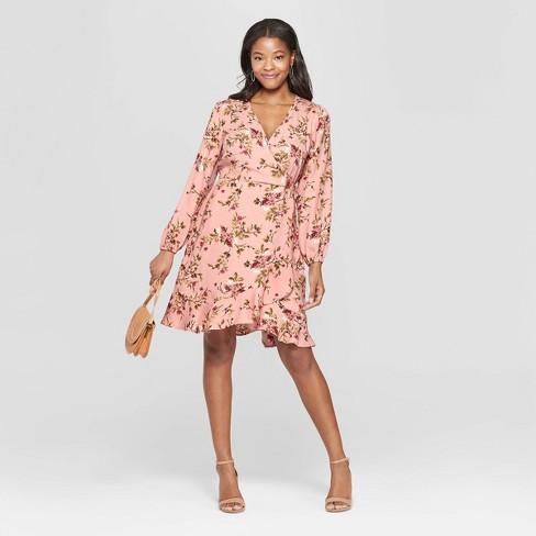 94e672ba19 Women's Floral Print Long Sleeve Deep V-Neck Wrap Dress - Xhilaration™ Pale  Peach