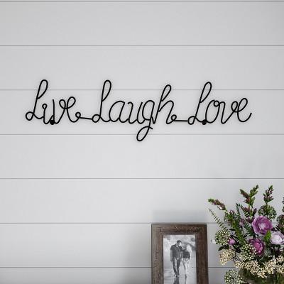"""Live Laugh Love"" Cursive Metal Cutout Sign Black - Lavish Home"