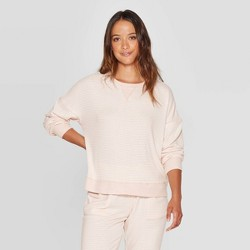 Women's Striped Perfectly Cozy Lounge Sweatshirt - Stars Above™ Pink