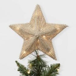Lit Glitter String Incandescent Star Christmas Tree Topper Gold - Wondershop™