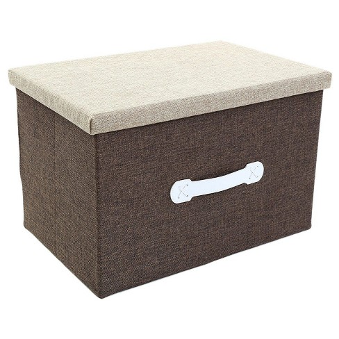 Juvale Large Collapsible Fabric Storage Bins, Foldable Jute Storage Boxes Containers with Lid - Beige, 18 x 12 x 12 inches - image 1 of 3