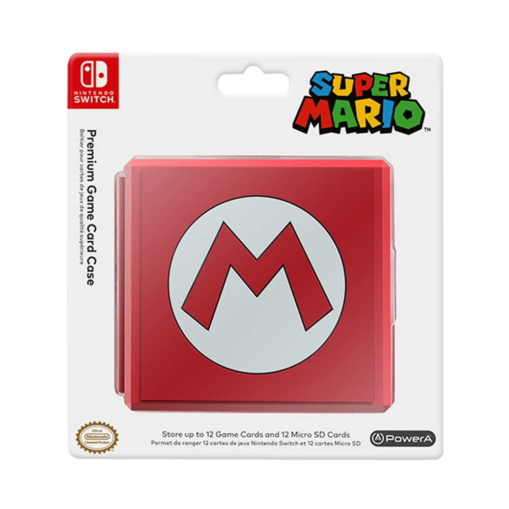 "PowerA Premium Game Card Case for Nintendo Switch - Super Mario, Red Featuring the iconic ""m"", the Super Mario Premium Game Card Case stores up to 12 Nintendo Switch game cards and 12 micro SD cards simultaneously. The compact case is extremely durable and easy to take on-the-go. Form-fitting rubber slots keep your game cards in place and a snap-closure keeps everything secure. Color: Red. Pattern: Fictitious character."