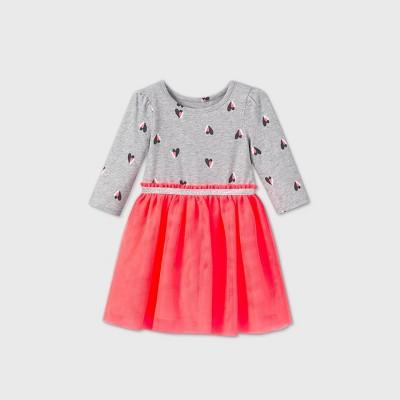 Toddler Girls' Heart Tulle Long Sleeve Dress - Cat & Jack™ Neon Pink 2T