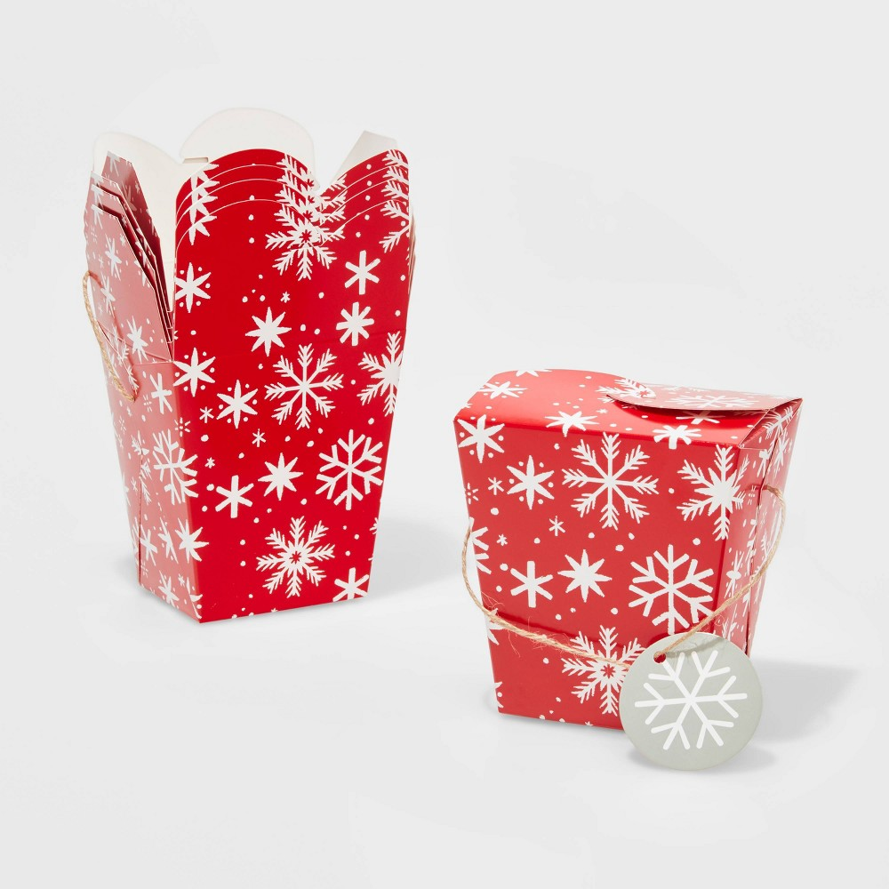 Image of 5ct Small Snowflake Takeout Christmas Gift Boxes Red - Wondershop