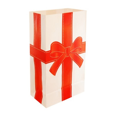 """24ct Paper Luminaria Bags """"Holiday Present"""" Red - LumaBase"""
