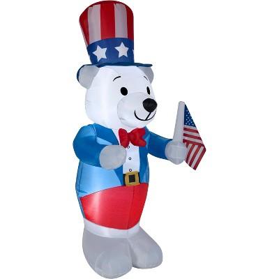 Gemmy Airblown Inflatable Patriotic Polar Bear, 6 ft Tall, blue