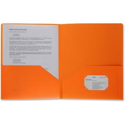 Business Source Poly Portfolio 2 Pocket LTR .3mil Orange 20883