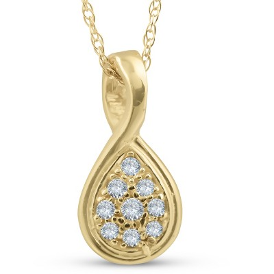 Pompeii3 1/10ct Pave Tear Drop Solitaire Diamond Pendant 10K Yellow Gold