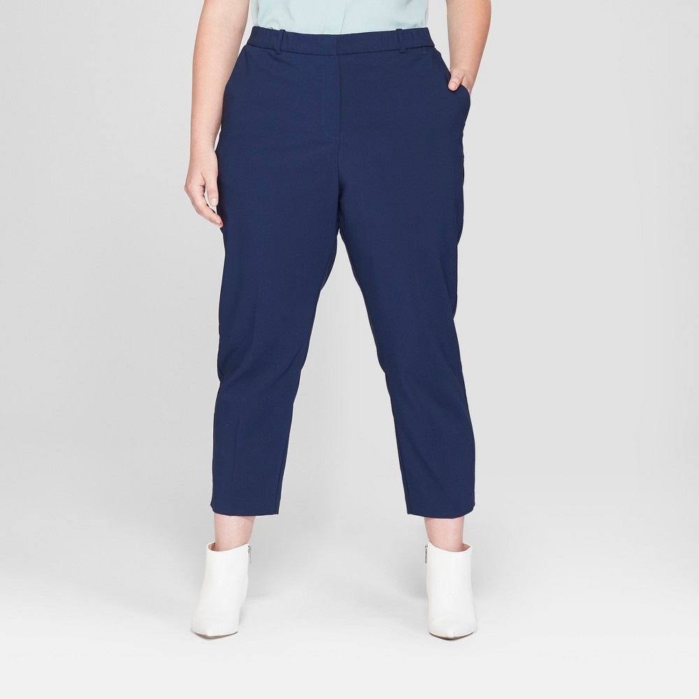 Women's Plus Size Straight Leg Ankle Length Trouser - Prologue Navy (Blue) 18W
