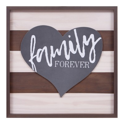 22.75 x22.75  Family Forever Wood Wall Art Brown - Patton Wall Decor
