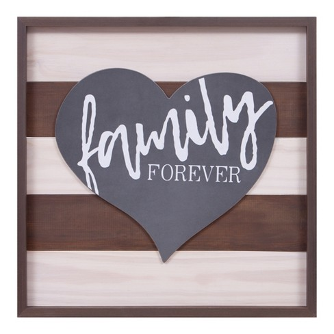 """22.75""""x22.75"""" Family Forever Wood Wall Art Brown - Patton Wall Decor - image 1 of 5"""